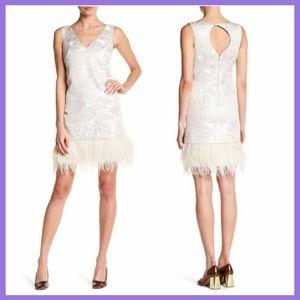 NEW Nicole Miller New York V-Neck Feather Dress 8